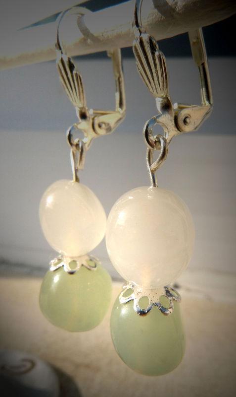 Boucle d'Oreille jade & cristal de roche