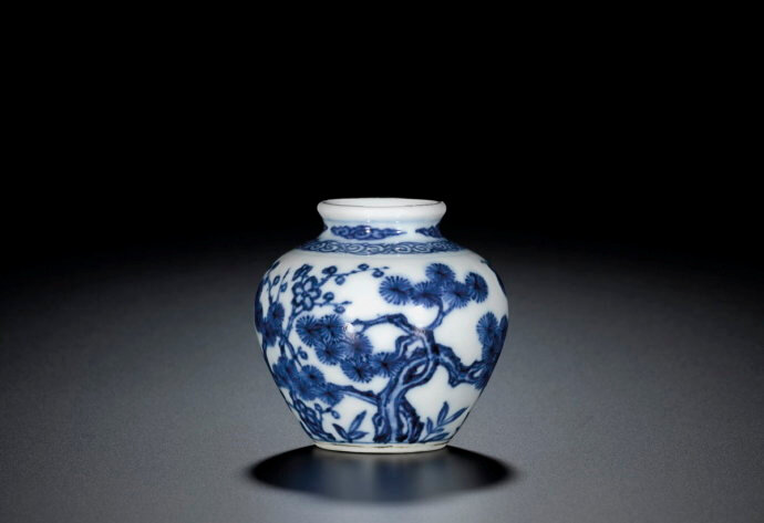 A fine blue and white 'Three Friends' jarlet, Mark and period of Yongzheng (1723-1735)