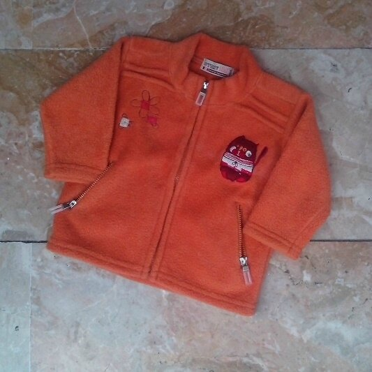 gilet polaire orange chat