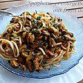 Spaghettis et courgette aux fruits de mer