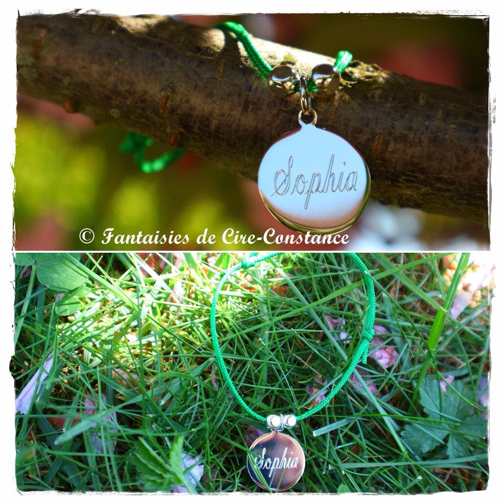 Bracelet nylon médaille perles gravée