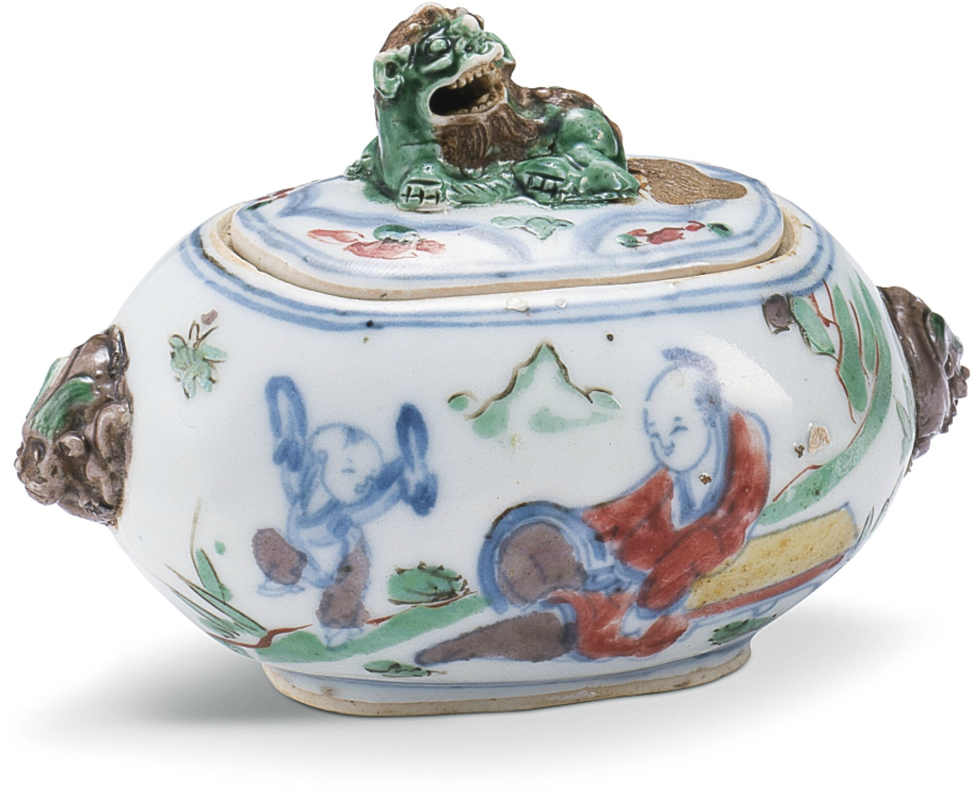 An unusual wucai incense burner and cover, Ming dynasty, 17th century