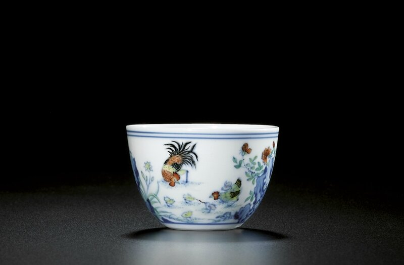 A fine and rare doucai 'chicken' cup, Qing dynasty, Qianlong period (1736-1795)