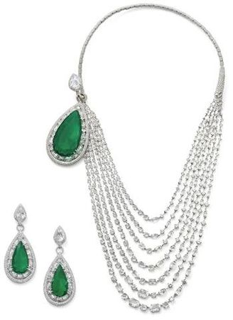 An_superb_emerald_and_diamond_necklace_and_ear_pendant_suite