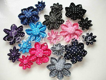 fleurs kanzashi tissu à pois