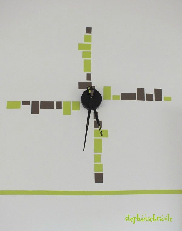 pendule sticker mosaique minimaliste