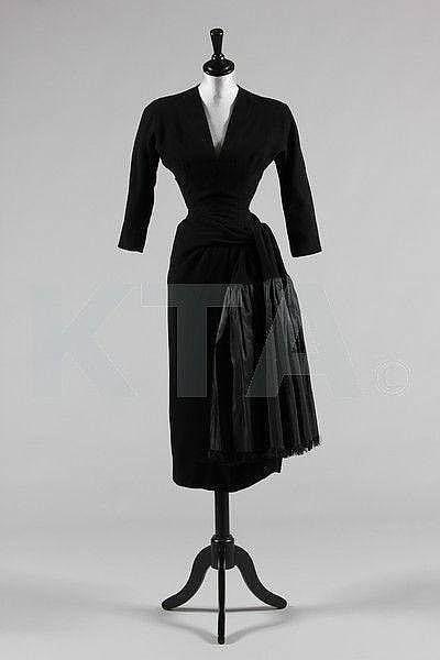 A Balenciaga couture black wool and taffeta dinner gown, Winter 1953. Photo courtesy Kerry Taylor