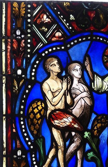 Adam et Eve - vitrail restauré - Aurélie Dupin