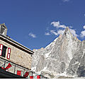 Chamonix, la Mer de Glace, aiguille de la Dru et hôtel de Montenvers (74)