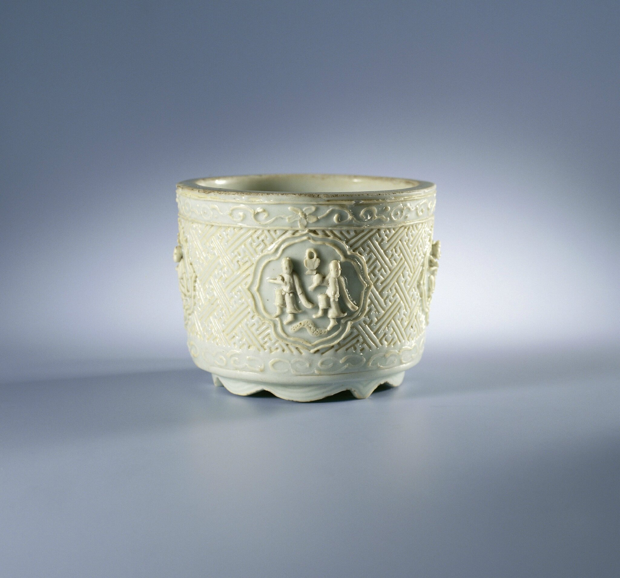 Incense burner with figures and swastika motifs in relief, Wanli period (1573-1619), c