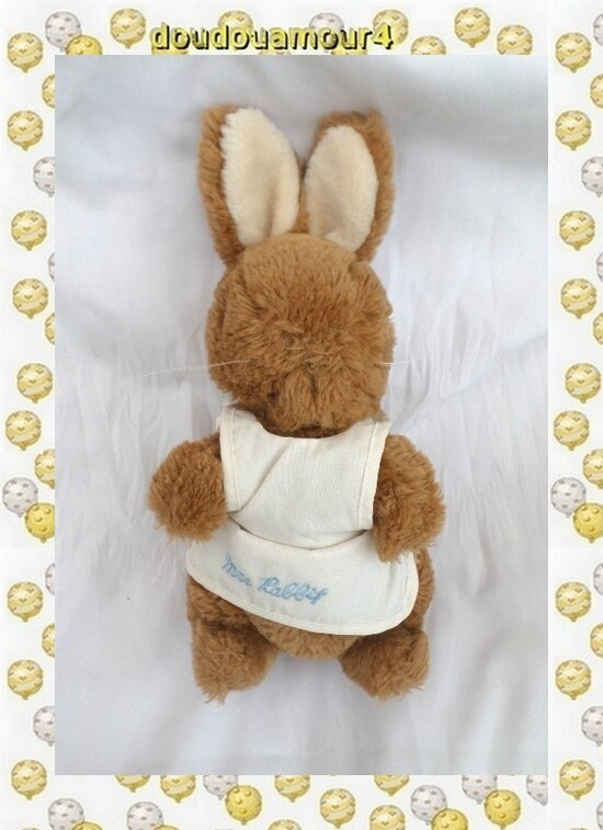 Doudou Peluche Lapin Marron Tablier Ecru Mrs Rabbit Eden