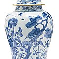 A chinese export porcelain blue and white jar and cover, qing dynasty, 18th century