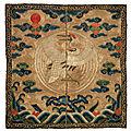 A very rare civil official's rank badge of a crane, buzi, kangxi period (1662-1722)