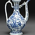 A blue and white pear-shaped ewer, Jiajing-Wanli Period, 16th-17th century