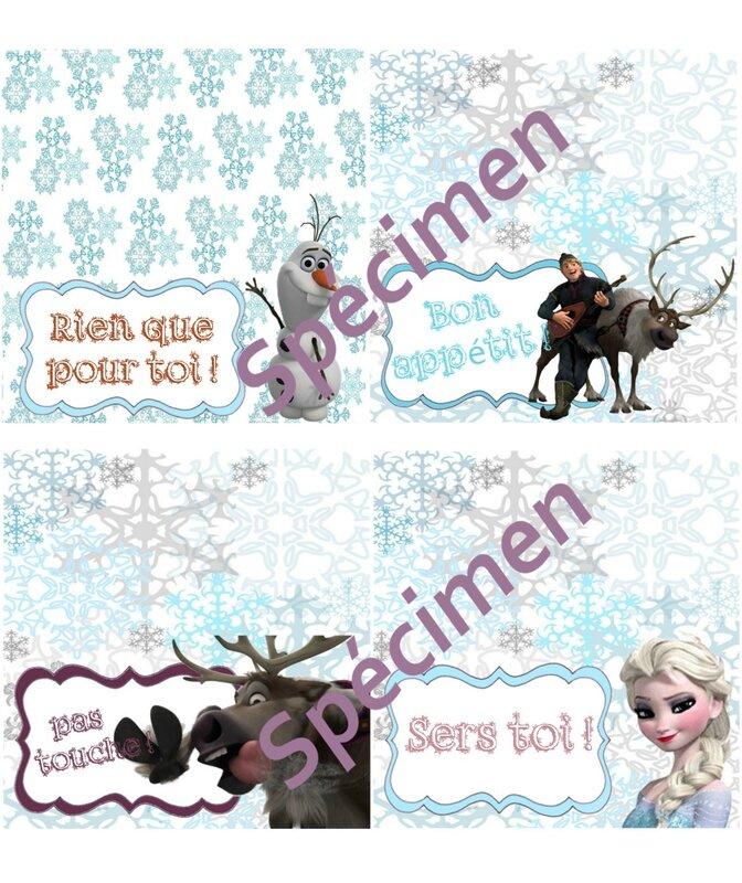 carton décoratif de table Rein des neiges spécimen