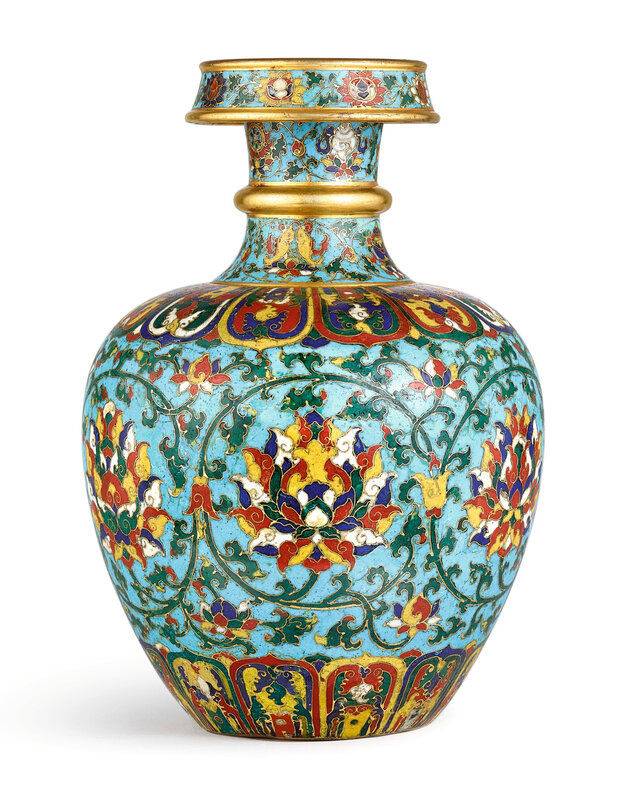 A Highly Important And Extremely Rare Cloisonn Enamel Lotus Altar