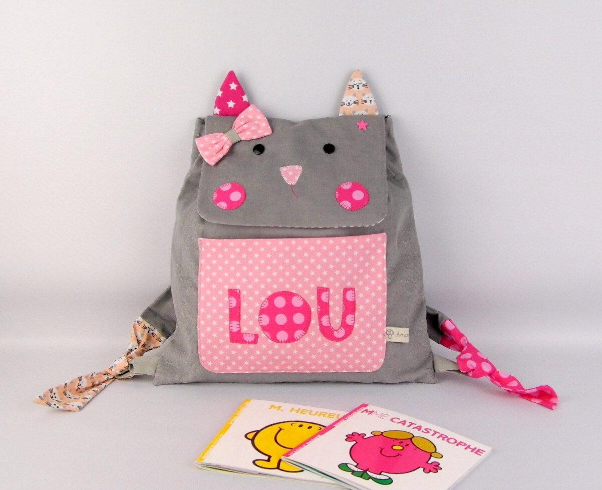 Sac à dos chat fille personnalisé prénom Lou sac maternelle gris rose première rentrée des classes
