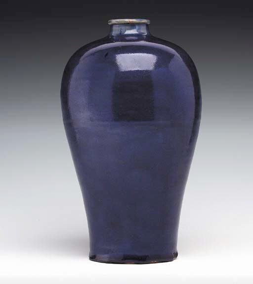From the Gulbenkian Museum, Durham. A Rare Blue-Glazed Vase, Meiping, Yuan-Early Ming Dynasty; 135/8in. (34.6cm.) high. Sold for 58,750 USD at Christie's New York, 21st September 2000, lot 296. ------WebKitFormBoundaryGg1DfZRZNM8TfJ5j Content-Disposit