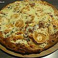 Pizza épaisse au bleu et au chèvre