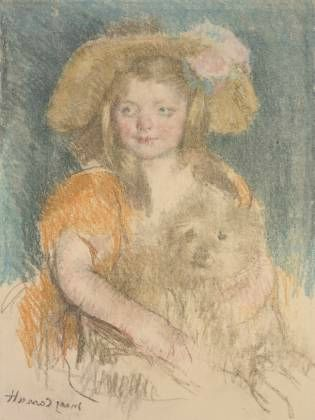 Sara souriant portant un grand chapeau et tenant son chien 1901