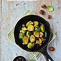 Poêlée de choux de bruxelles aux raisins & noisettes {au miso & à l'érable} #vegan #glutenfree