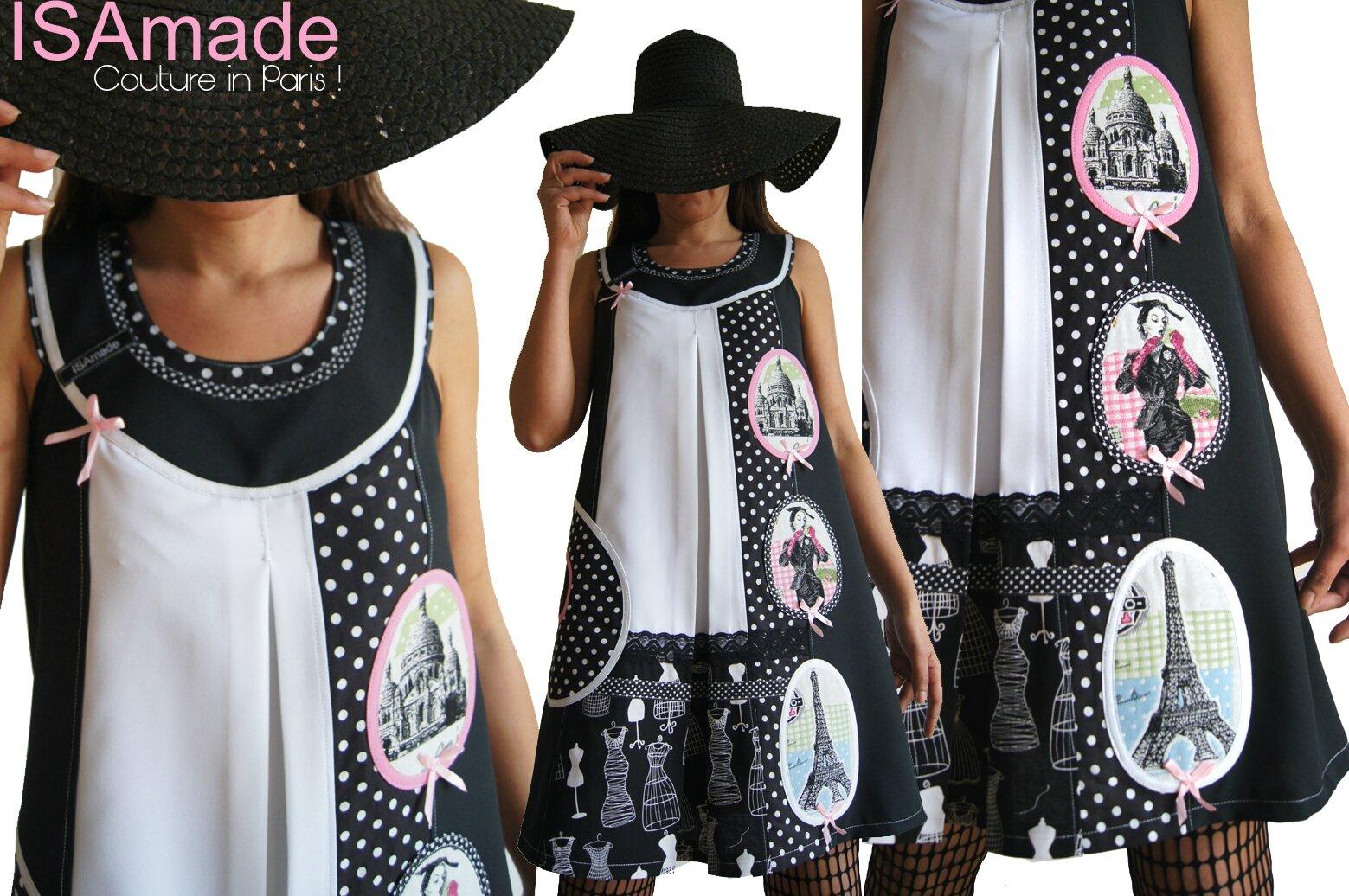 Une robe trapèze bicolore Noir blanc au look Graphique