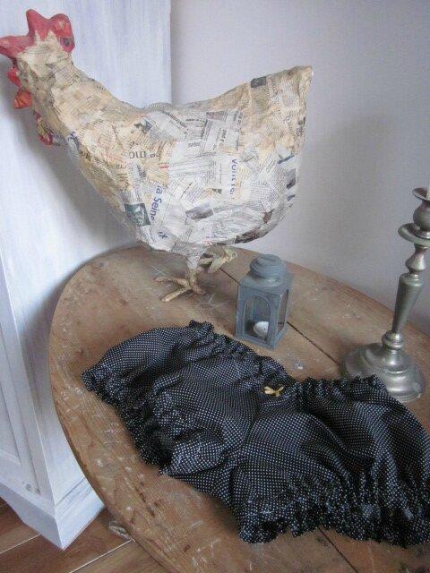 Culotte BIANCA en coton noir à pois blancs - noeud jaune (3)