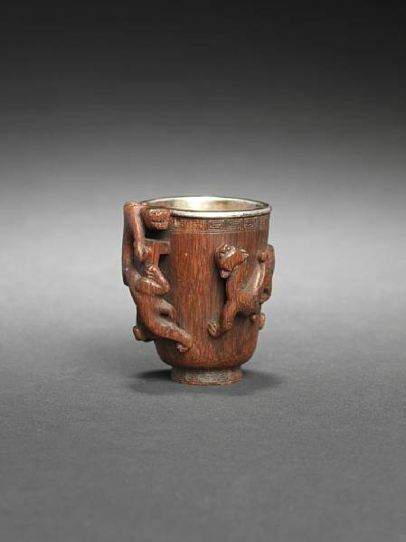 A small silver-mounted rhinoceros horn cup, 17th century. photo Bonhams