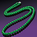 A very fine jadeite bead and diamond necklace