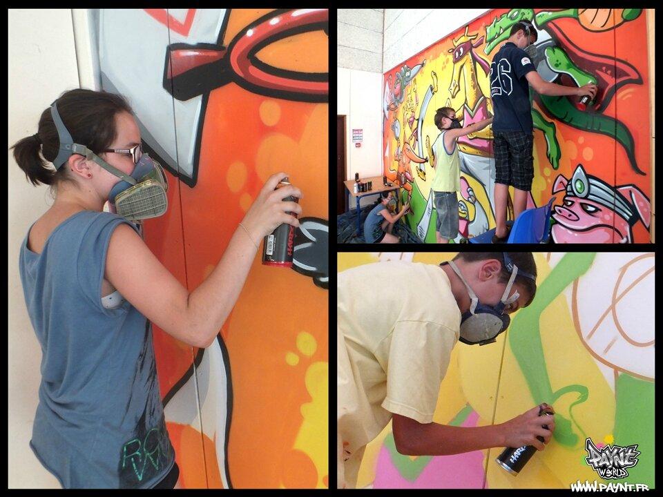 Initiation_stage_graffiti_street_artist_local_jeune_moyaux_calvados_paynt_maxime_brienne_sport_gymnase_fresque_couleur_super_hero_marvel_animaux_cochon4_web