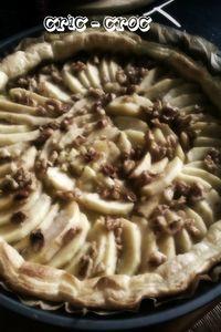 tarte pommes et noix