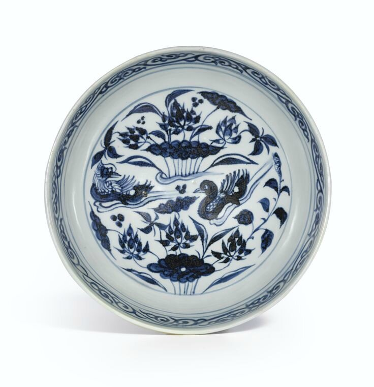 A blue and white 'Mandarin Duck and Lotus' stembowl, Yuan dynasty (inside view)