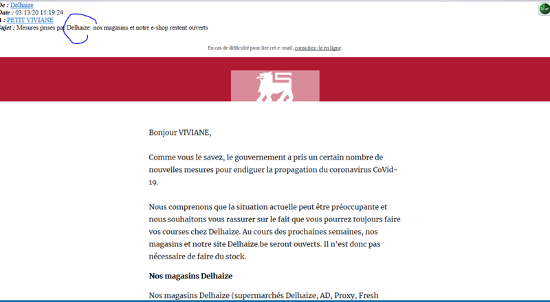 mail du magasin Delhaize
