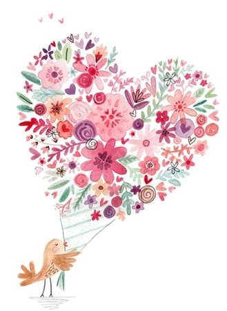 oiseau bouquet coeur