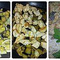 Curry d'aubergines au poulet et lait de coco
