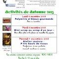 Activités des enfants durant les congés de 'automne'