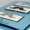 Un combo ... 3 moustaches ... une carte d'anniversaire masculine rigolote et tendance !!