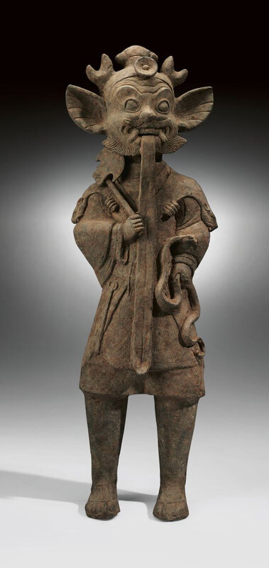 large Sichuan painted grey pottery figure of a shaman, Han dynasty (206 BC-AD 220)