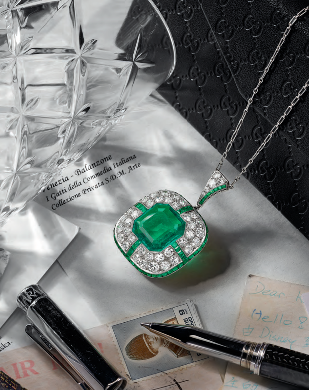An Early 20th Century Emerald and Diamond Pendant, by Marcus & Co