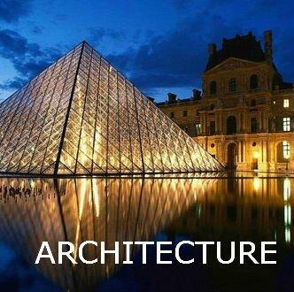 logo architecture - pyramide et palais du louvre