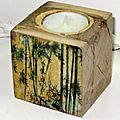 Bougeoir bambous cube : VENDU
