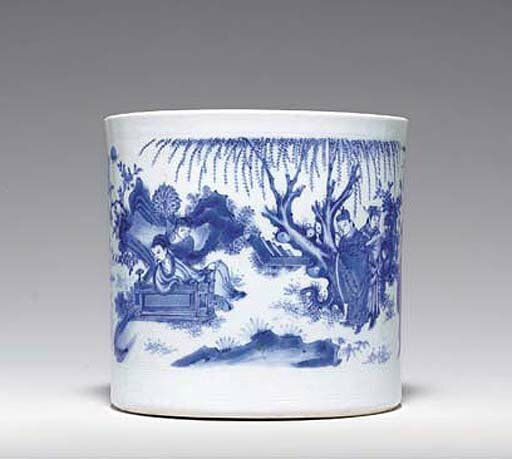 A finely painted blue and white brushpot, bitong, Transitional period, ca