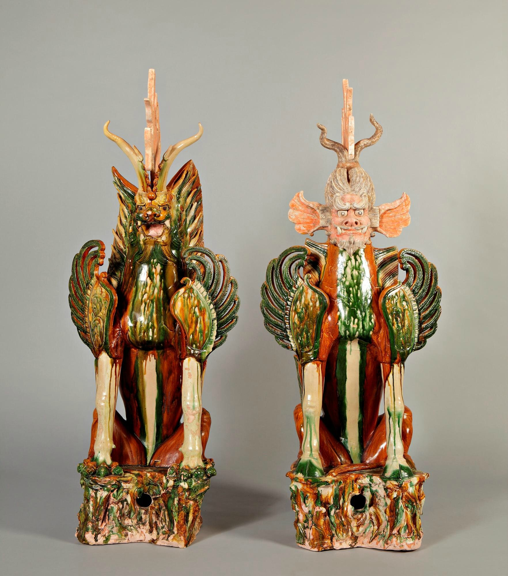 Large Sancai-Glazed Earth Spirits, Zhenmoushou, China, Tang Dynasty (618 - 907)