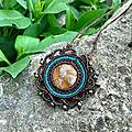 Collier mandala macramé pierre jaspe