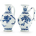 A pair of blue and white jugs, transitional period, 17th century