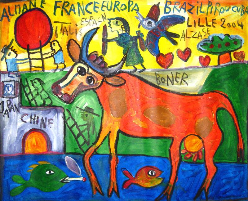JABER Vache rouge 2004 73 x 90