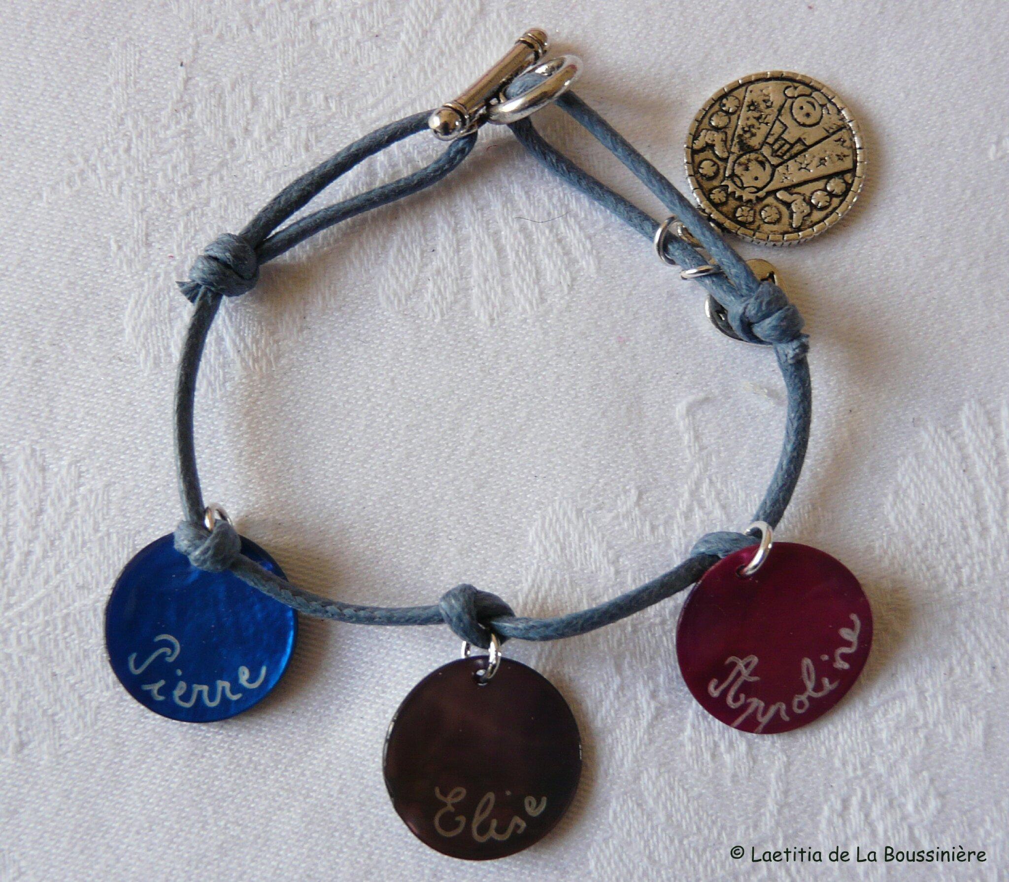 Bracelet personnalisé sur lien de coton