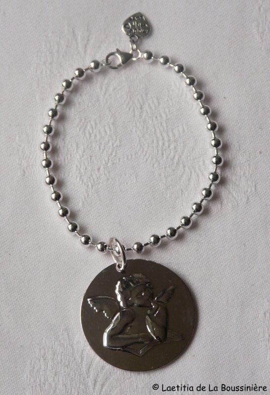 Bracelet boules argent et médaille Ange
