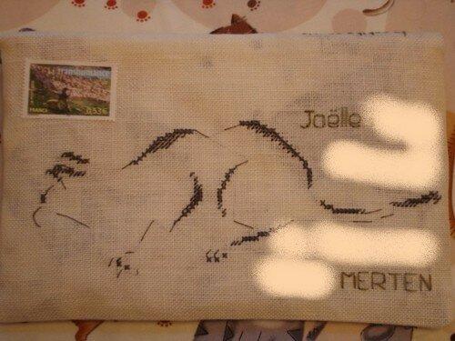 Brodée pour Joëlle maman chat