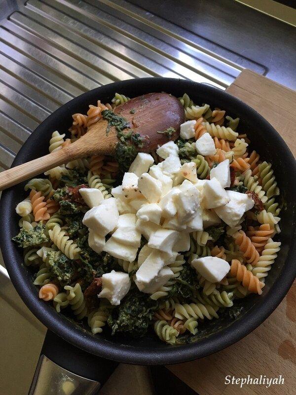 Pâtes épinards, mozza et tomates confites - février 2019